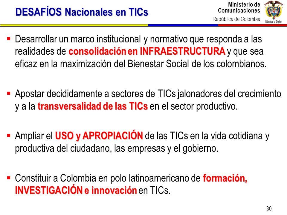 Ministerio de Comunicaciones República de Colombia Ministerio de Comunicaciones República de Colombia 30 consolidación en INFRAESTRUCTURA Desarrollar