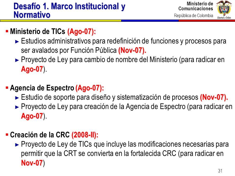 Ministerio de Comunicaciones República de Colombia Ministerio de Comunicaciones República de Colombia 31 (Ago-07): Ministerio de TICs (Ago-07): (Nov-0
