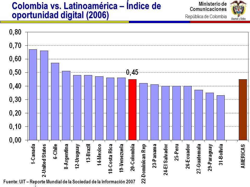 Ministerio de Comunicaciones República de Colombia Ministerio de Comunicaciones República de Colombia 6 Fuente: UIT – Reporte Mundial de la Sociedad d