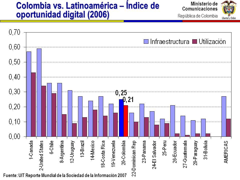 Ministerio de Comunicaciones República de Colombia Ministerio de Comunicaciones República de Colombia 7 Fuente: UIT – Reporte Mundial de la Sociedad d