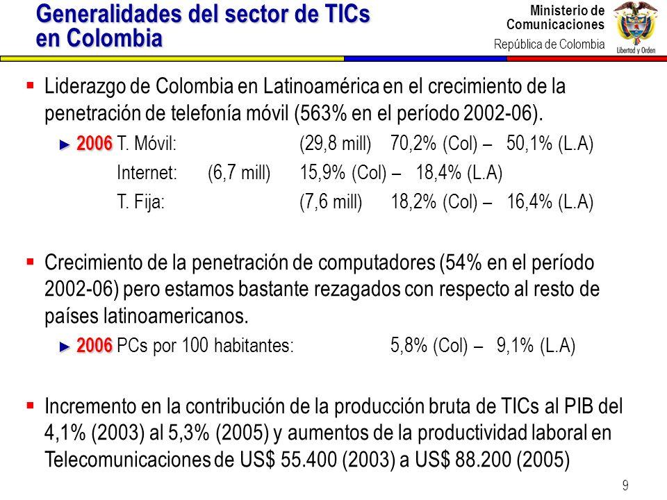 Ministerio de Comunicaciones República de Colombia Ministerio de Comunicaciones República de Colombia 9 Liderazgo de Colombia en Latinoamérica en el c