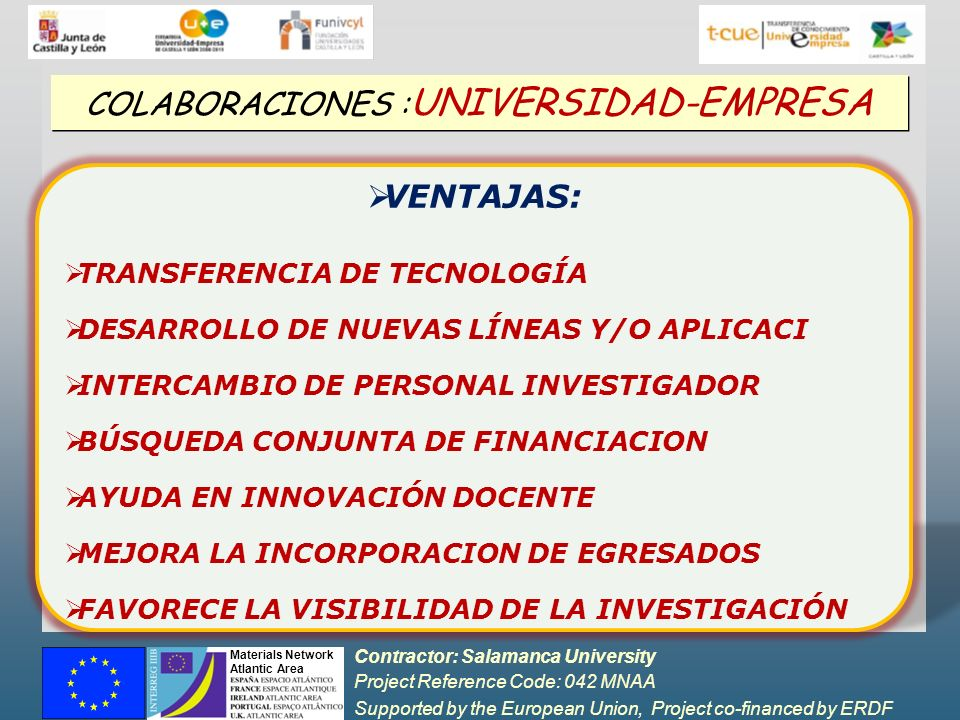 Contractor: Salamanca University Project Reference Code: 042 MNAA Supported by the European Union, Project co-financed by ERDF Materials Network Atlan