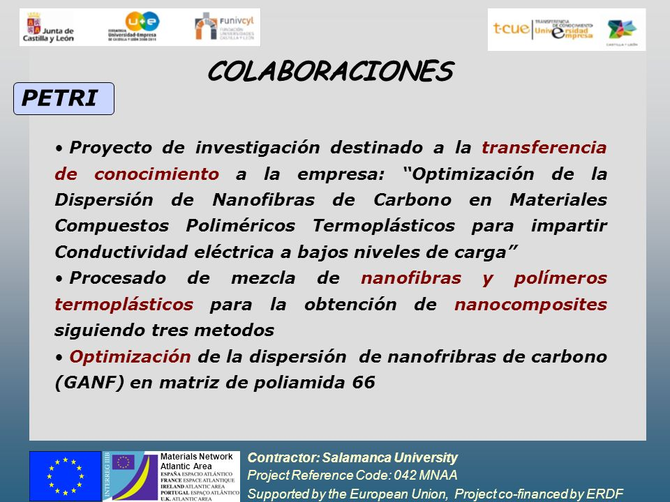 Contractor: Salamanca University Project Reference Code: 042 MNAA Supported by the European Union, Project co-financed by ERDF Materials Network Atlantic Area