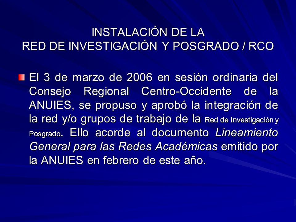 INSTALACIÓN DE LA RED DE INVESTIGACIÓN Y POSGRADO / RCO El 3 de marzo de 2006 en sesión ordinaria del Consejo Regional Centro-Occidente de la ANUIES,