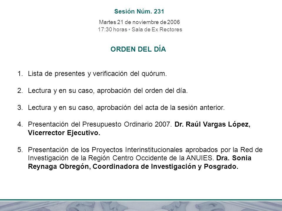 Sesión Núm. 231 Martes 21 de noviembre de 2006 17:30 horas Sala de Ex Rectores ORDEN DEL DÍA 1.Lista de presentes y verificación del quórum. 2.Lectura