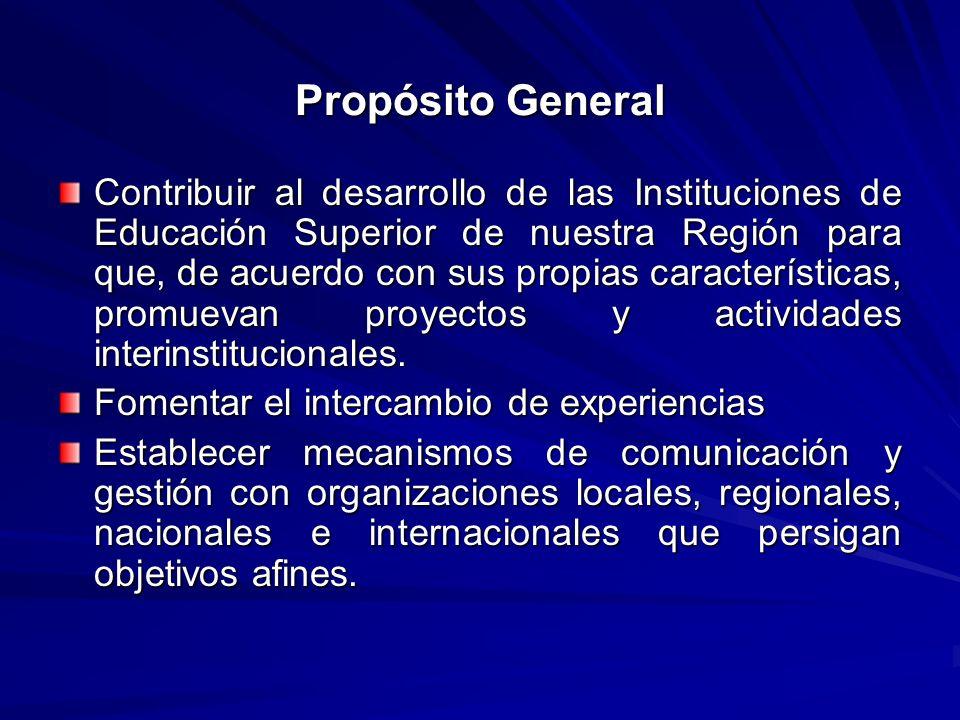 Propósito General Contribuir al desarrollo de las Instituciones de Educación Superior de nuestra Región para que, de acuerdo con sus propias caracterí