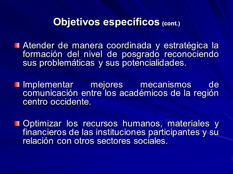 Objetivos específicos (cont.) Atender de manera coordinada y estratégica la formación del nivel de posgrado reconociendo sus problemáticas y sus poten