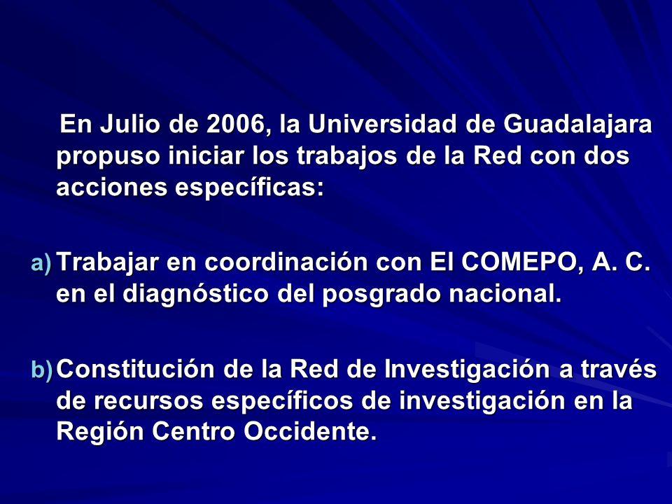 En Julio de 2006, la Universidad de Guadalajara propuso iniciar los trabajos de la Red con dos acciones específicas: En Julio de 2006, la Universidad
