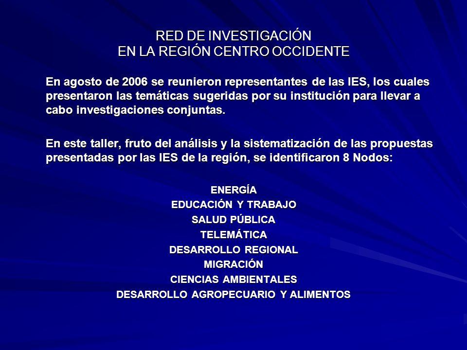 En agosto de 2006 se reunieron representantes de las IES, los cuales presentaron las temáticas sugeridas por su institución para llevar a cabo investi