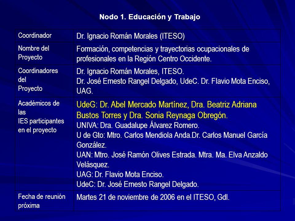 Coordinador Dr. Ignacio Román Morales (ITESO) Nombre del Proyecto Formación, competencias y trayectorias ocupacionales de profesionales en la Región C