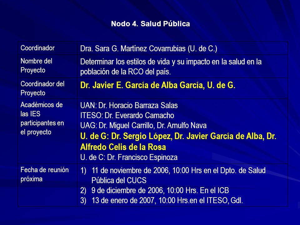 Nodo 4. Salud Pública Coordinador Dra. Sara G. Martínez Covarrubias (U. de C.) Nombre del Proyecto Determinar los estilos de vida y su impacto en la s