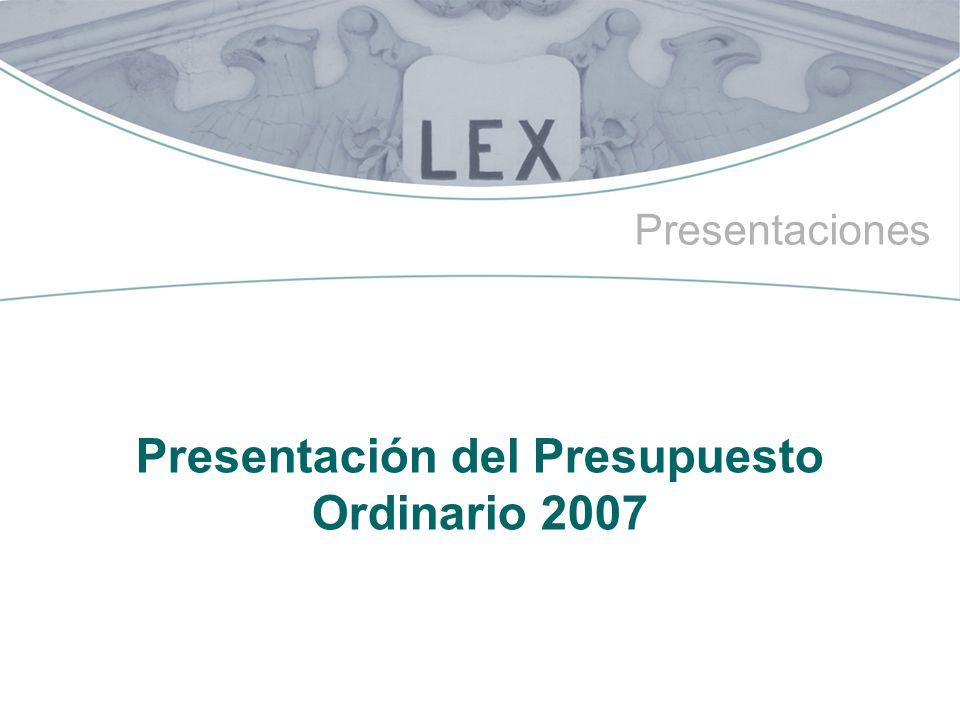 Presentaciones Presentación del Presupuesto Ordinario 2007
