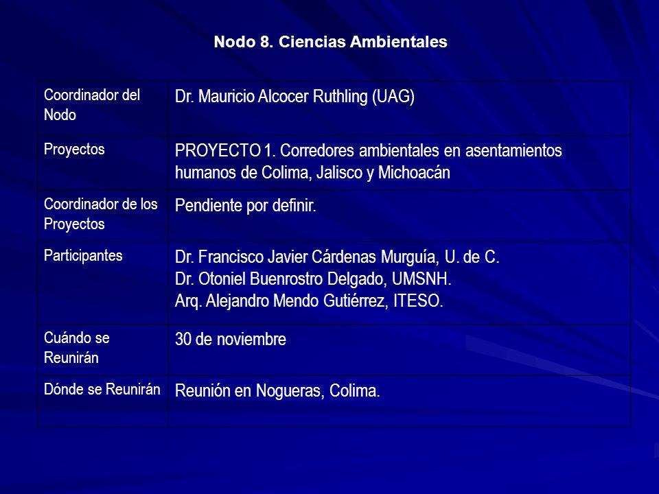 Coordinador del Nodo Dr. Mauricio Alcocer Ruthling (UAG) Proyectos PROYECTO 1. Corredores ambientales en asentamientos humanos de Colima, Jalisco y Mi