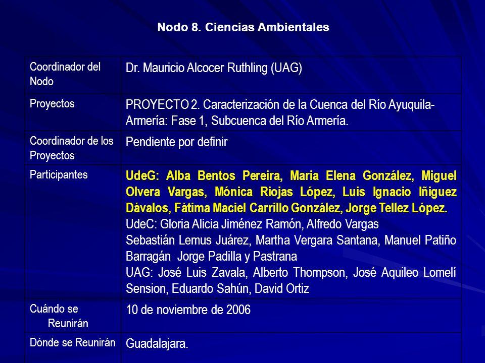 Coordinador del Nodo Dr. Mauricio Alcocer Ruthling (UAG) Proyectos PROYECTO 2. Caracterización de la Cuenca del Río Ayuquila- Armería: Fase 1, Subcuen