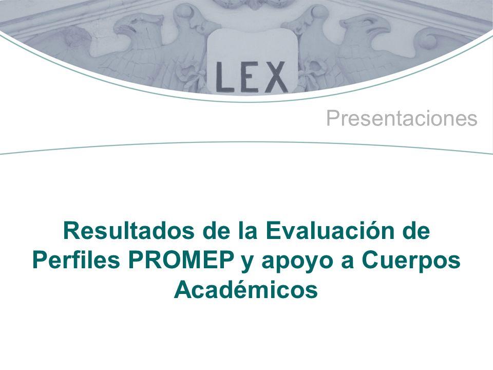 Presentaciones Resultados de la Evaluación de Perfiles PROMEP y apoyo a Cuerpos Académicos