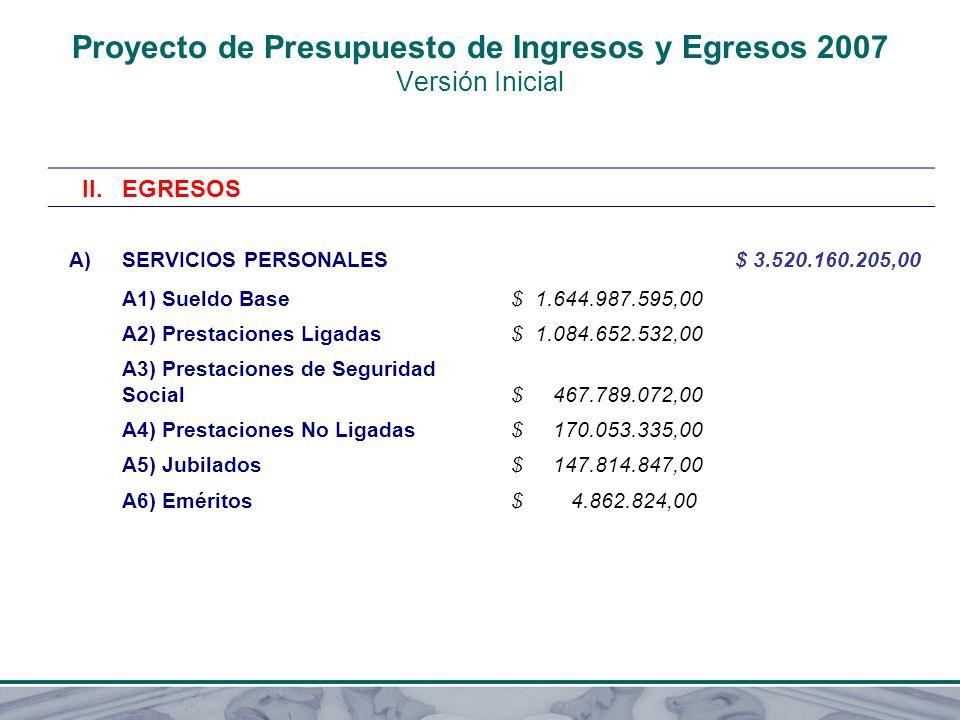 Proyecto de Presupuesto de Ingresos y Egresos 2007 Versión Inicial II.EGRESOS A)SERVICIOS PERSONALES $ 3.520.160.205,00 A1) Sueldo Base $ 1.644.987.59