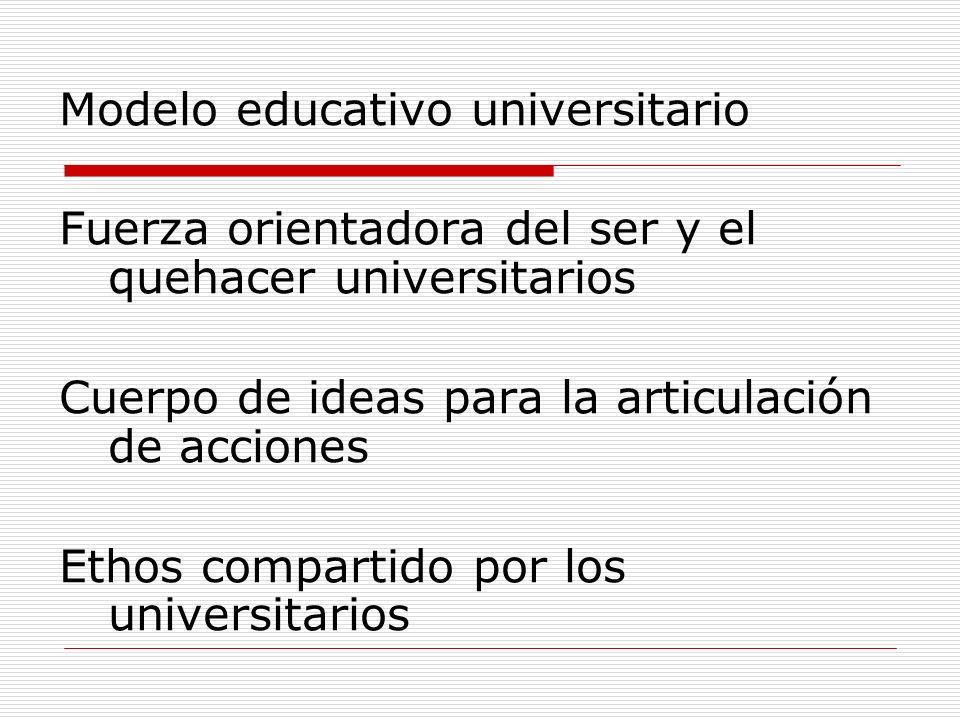 Modelo educativo universitario Fuerza orientadora del ser y el quehacer universitarios Cuerpo de ideas para la articulación de acciones Ethos comparti
