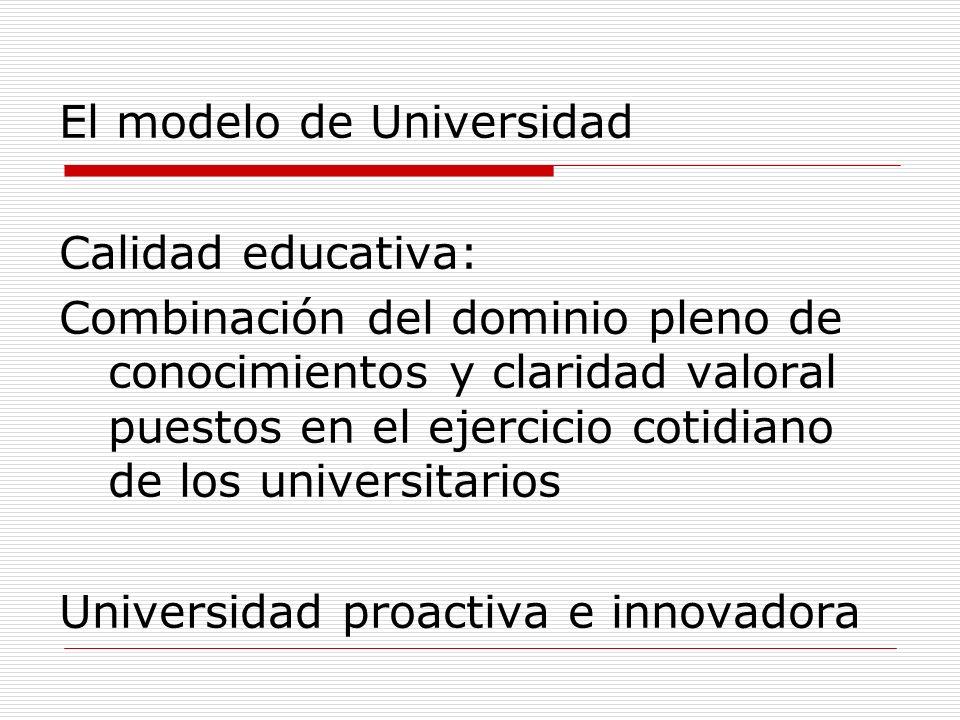 El modelo de Universidad Calidad educativa: Combinación del dominio pleno de conocimientos y claridad valoral puestos en el ejercicio cotidiano de los