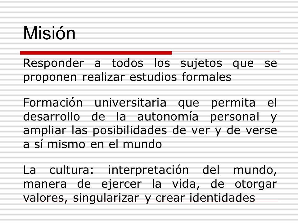 Misión Responder a todos los sujetos que se proponen realizar estudios formales Formación universitaria que permita el desarrollo de la autonomía pers