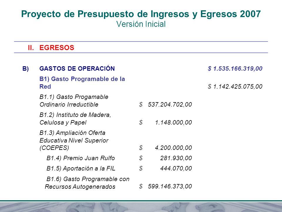 Proyecto de Presupuesto de Ingresos y Egresos 2007 Versión Inicial II.EGRESOS B)GASTOS DE OPERACIÓN $ 1.535.166.319,00 B1) Gasto Programable de la Red