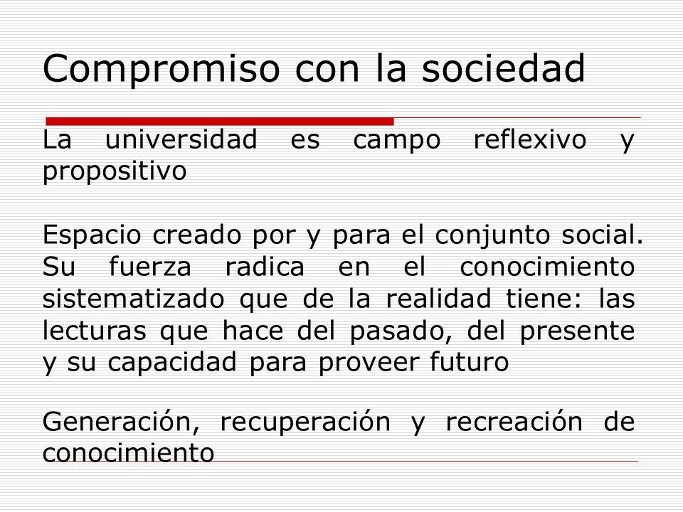 Compromiso con la sociedad La universidad es campo reflexivo y propositivo Espacio creado por y para el conjunto social. Su fuerza radica en el conoci