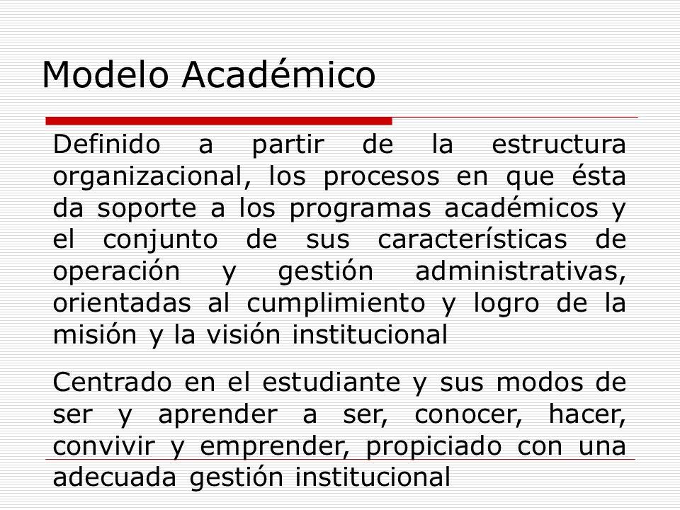 Definido a partir de la estructura organizacional, los procesos en que ésta da soporte a los programas académicos y el conjunto de sus características