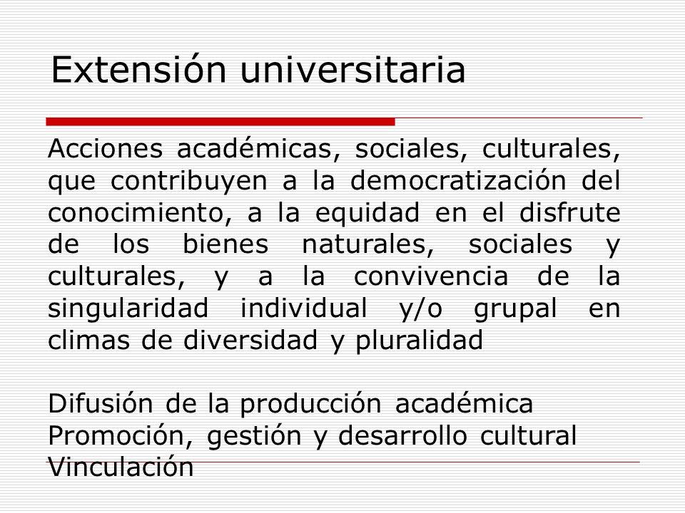 Extensión universitaria Acciones académicas, sociales, culturales, que contribuyen a la democratización del conocimiento, a la equidad en el disfrute