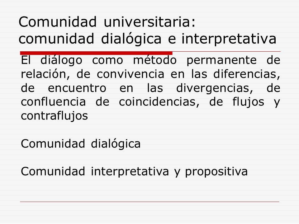Comunidad universitaria: comunidad dialógica e interpretativa El diálogo como método permanente de relación, de convivencia en las diferencias, de enc