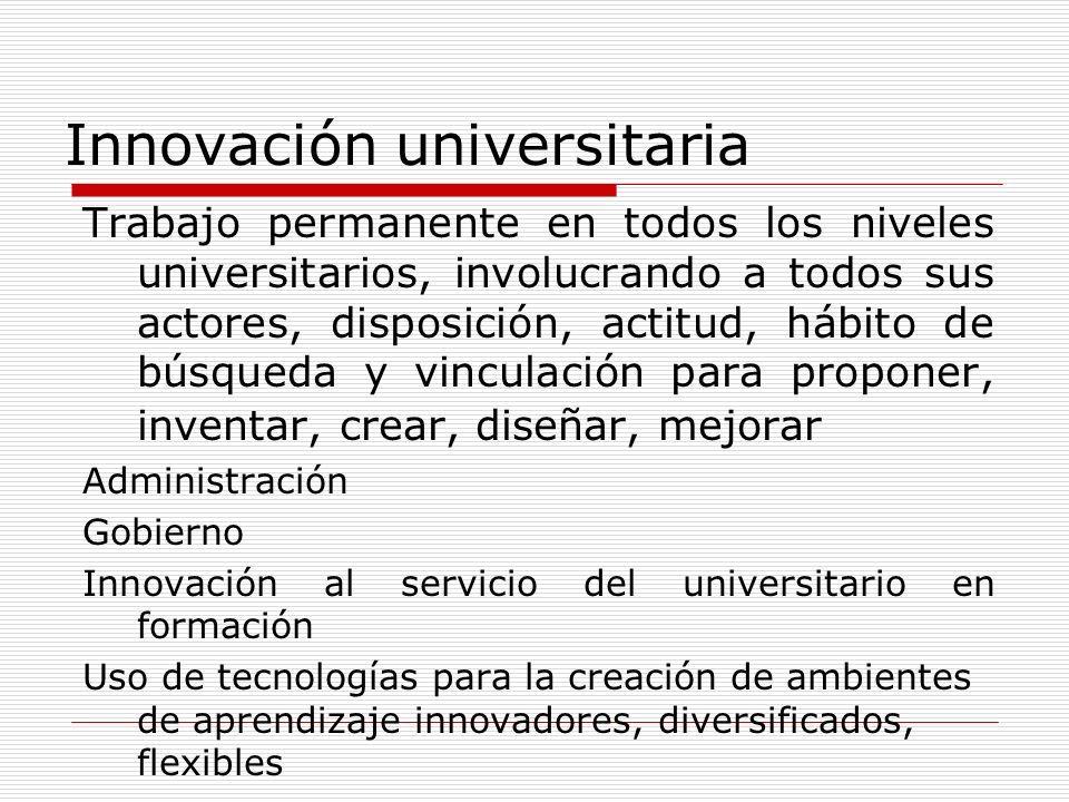 Innovación universitaria Trabajo permanente en todos los niveles universitarios, involucrando a todos sus actores, disposición, actitud, hábito de bús