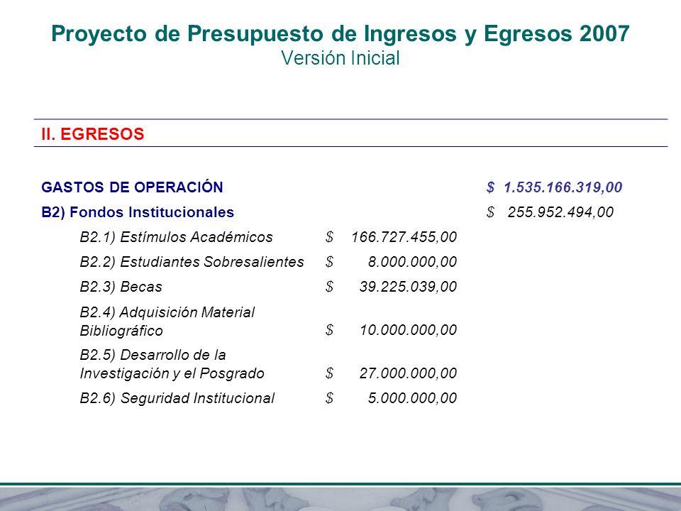 Proyecto de Presupuesto de Ingresos y Egresos 2007 Versión Inicial II. EGRESOS GASTOS DE OPERACIÓN $ 1.535.166.319,00 B2) Fondos Institucionales $ 255
