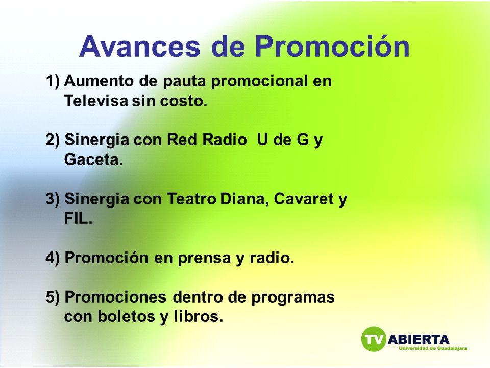 Avances de Promoción 1)Aumento de pauta promocional en Televisa sin costo. 2) Sinergia con Red Radio U de G y Gaceta. 3) Sinergia con Teatro Diana, Ca
