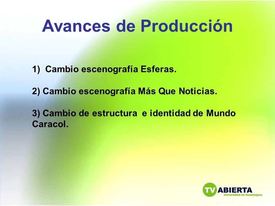 Avances de Producción 1) Cambio escenografía Esferas. 2) Cambio escenografía Más Que Noticias. 3) Cambio de estructura e identidad de Mundo Caracol.