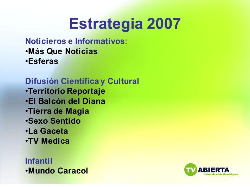 Estrategia 2007 Noticieros e Informativos: Más Que Noticias Esferas Difusión Científica y Cultural Territorio Reportaje El Balcón del Diana Tierra de