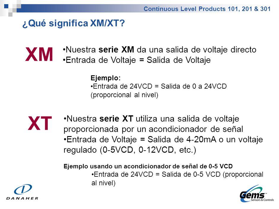 Continuous Level Products 101, 201 & 301 XM Nuestra serie XM da una salida de voltaje directo Entrada de Voltaje = Salida de Voltaje Ejemplo: Entrada