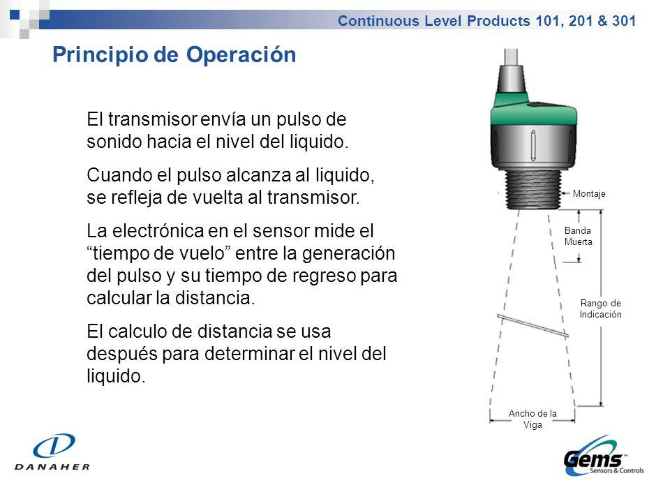 Continuous Level Products 101, 201 & 301 Principio de Operación El transmisor envía un pulso de sonido hacia el nivel del liquido. Cuando el pulso alc