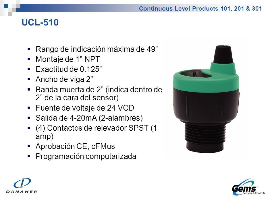 Continuous Level Products 101, 201 & 301 UCL-510 Rango de indicación máxima de 49 Montaje de 1 NPT Exactitud de 0.125 Ancho de viga 2 Banda muerta de