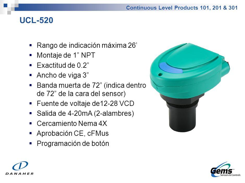 Continuous Level Products 101, 201 & 301 UCL-520 Rango de indicación máxima 26 Montaje de 1 NPT Exactitud de 0.2 Ancho de viga 3 Banda muerta de 72 (i