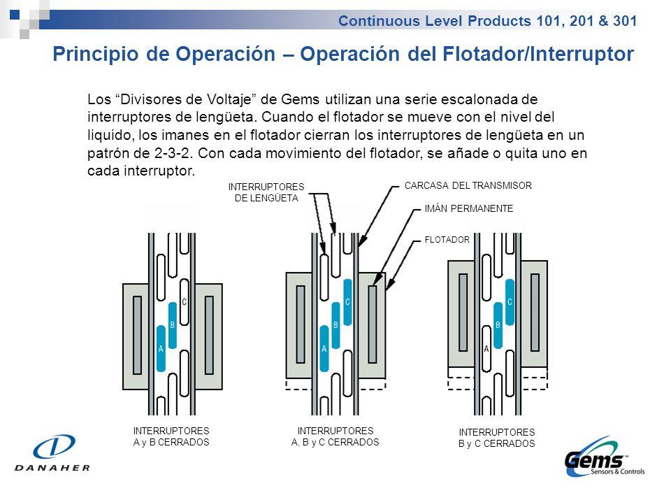 Continuous Level Products 101, 201 & 301 Principio de Operación – Operación del Flotador/Interruptor Los Divisores de Voltaje de Gems utilizan una ser