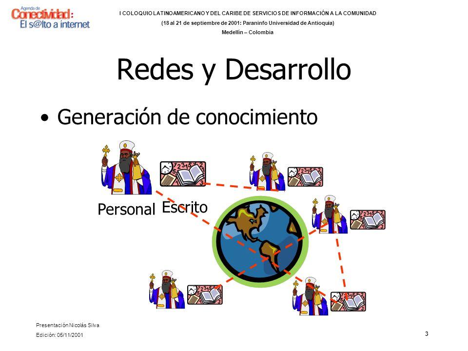 3 Redes y Desarrollo Generación de conocimiento Personal Escrito I COLOQUIO LATINOAMERICANO Y DEL CARIBE DE SERVICIOS DE INFORMACIÓN A LA COMUNIDAD (18 al 21 de septiembre de 2001: Paraninfo Universidad de Antioquia) Medellín – Colombia Presentación Nicolás Silva Edición: 05/11/2001