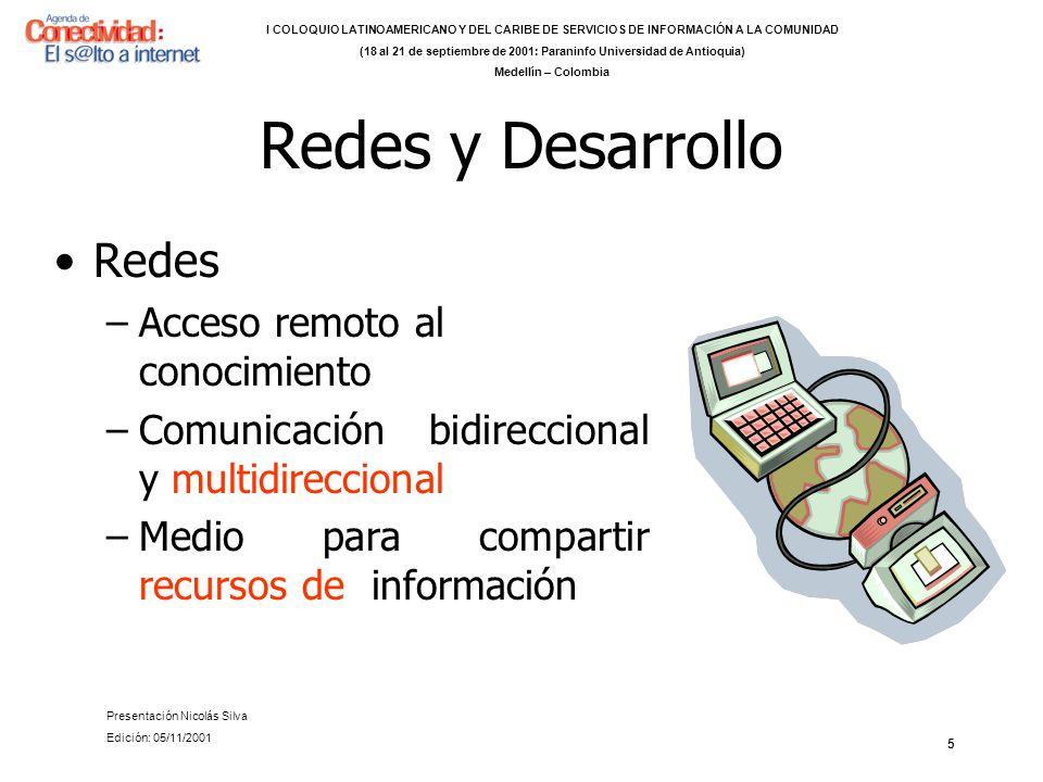 5 Redes y Desarrollo Redes –Acceso remoto al conocimiento –Comunicación bidireccional y multidireccional –Medio para compartir recursos de información I COLOQUIO LATINOAMERICANO Y DEL CARIBE DE SERVICIOS DE INFORMACIÓN A LA COMUNIDAD (18 al 21 de septiembre de 2001: Paraninfo Universidad de Antioquia) Medellín – Colombia Presentación Nicolás Silva Edición: 05/11/2001