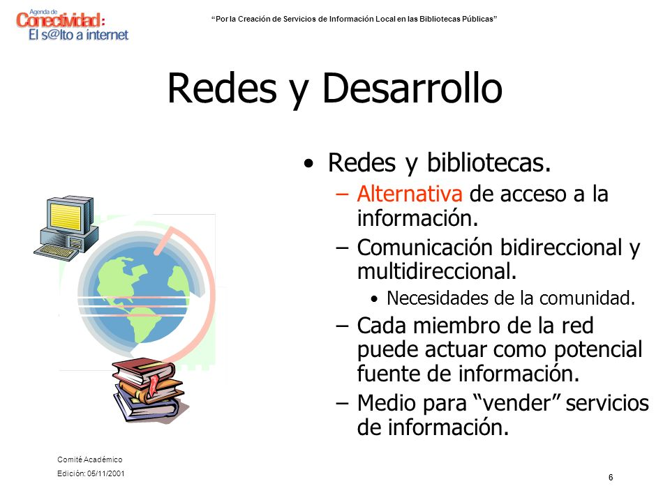 17 Conclusiones Oportunidad para las bibliotecas públicas Agenda de Conectividad Cooperación internacional –Infodev –Naciones Unidas Características importantes –Compatibilidad –Cumplimiento de estándares (Formato MARK) I COLOQUIO LATINOAMERICANO Y DEL CARIBE DE SERVICIOS DE INFORMACIÓN A LA COMUNIDAD (18 al 21 de septiembre de 2001: Paraninfo Universidad de Antioquia) Medellín – Colombia Presentación Nicolás Silva Edición: 05/11/2001