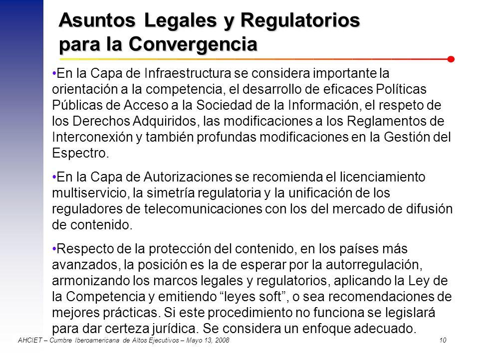 AHCIET – Cumbre Iberoamericana de Altos Ejecutivos – Mayo 13, 2008 10 Asuntos Legales y Regulatorios para la Convergencia En la Capa de Infraestructur