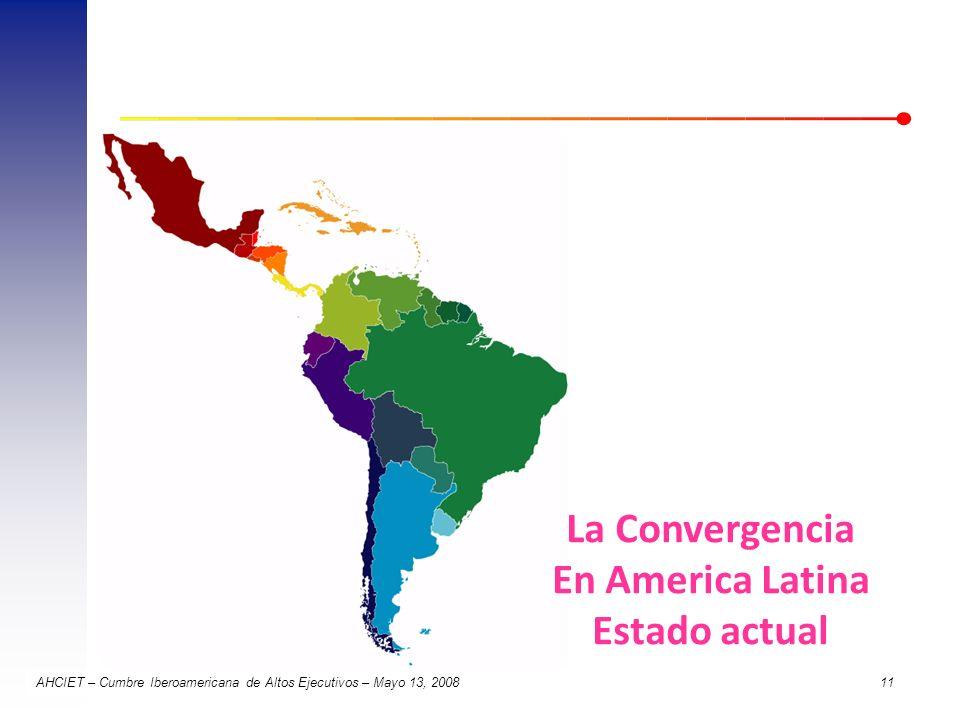 AHCIET – Cumbre Iberoamericana de Altos Ejecutivos – Mayo 13, 2008 11 La Convergencia En America Latina Estado actual