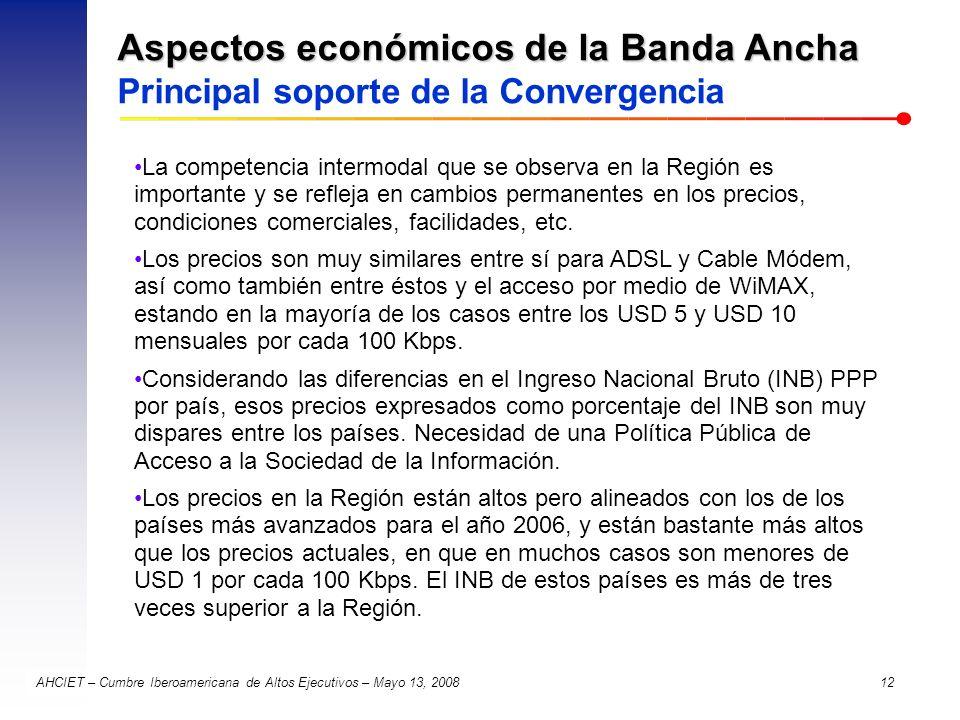 AHCIET – Cumbre Iberoamericana de Altos Ejecutivos – Mayo 13, 2008 12 Aspectos económicos de la Banda Ancha Aspectos económicos de la Banda Ancha Prin