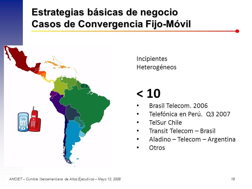 AHCIET – Cumbre Iberoamericana de Altos Ejecutivos – Mayo 13, 2008 18 Estrategias básicas de negocio Casos de Convergencia Fijo-Móvil Incipientes Hete