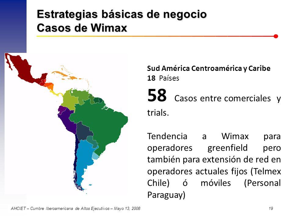 AHCIET – Cumbre Iberoamericana de Altos Ejecutivos – Mayo 13, 2008 19 Estrategias básicas de negocio Casos de Wimax Sud América Centroamérica y Caribe