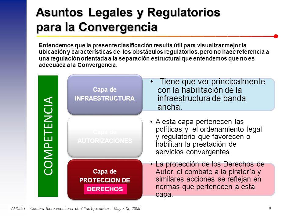 AHCIET – Cumbre Iberoamericana de Altos Ejecutivos – Mayo 13, 2008 9 Asuntos Legales y Regulatorios para la Convergencia COMPETENCIA Entendemos que la
