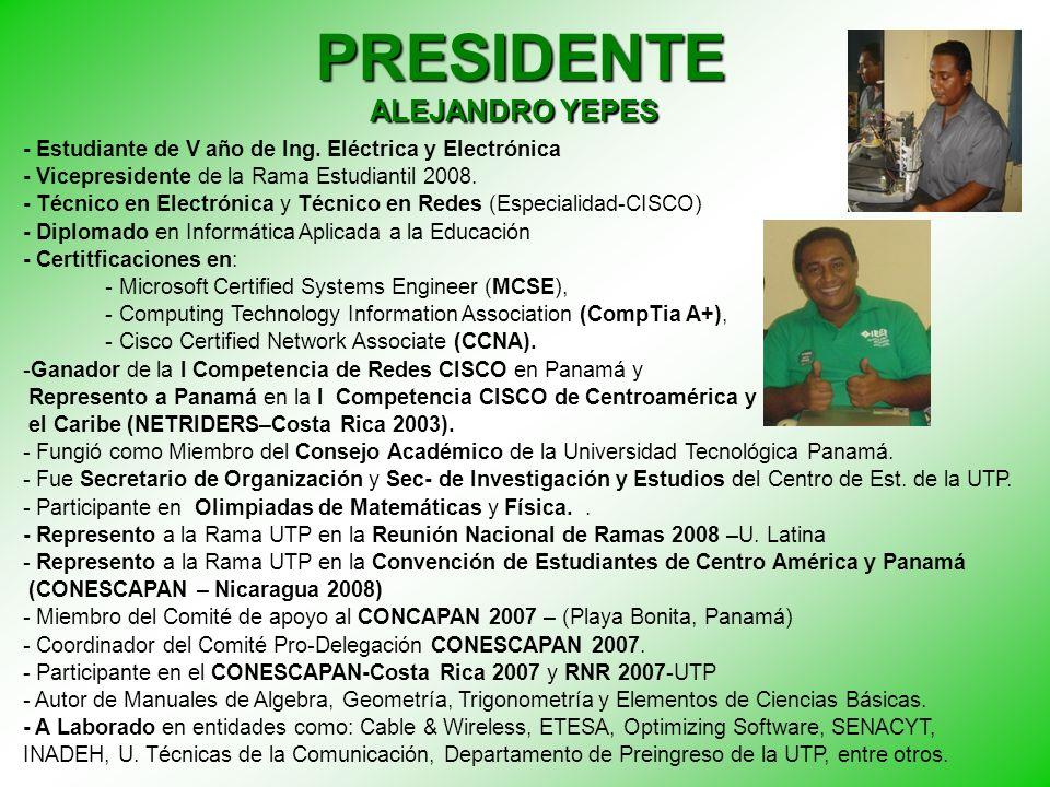 VICE PRESIDENTE - Estudiante de V año de Ing.Electrónica y Telecomunicaciones.