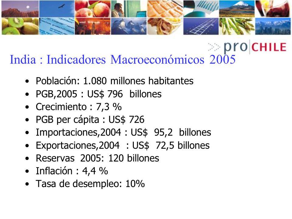 India : Indicadores Macroeconómicos 2005 Población: 1.080 millones habitantes PGB,2005 : US$ 796 billones Crecimiento : 7,3 % PGB per cápita : US$ 726