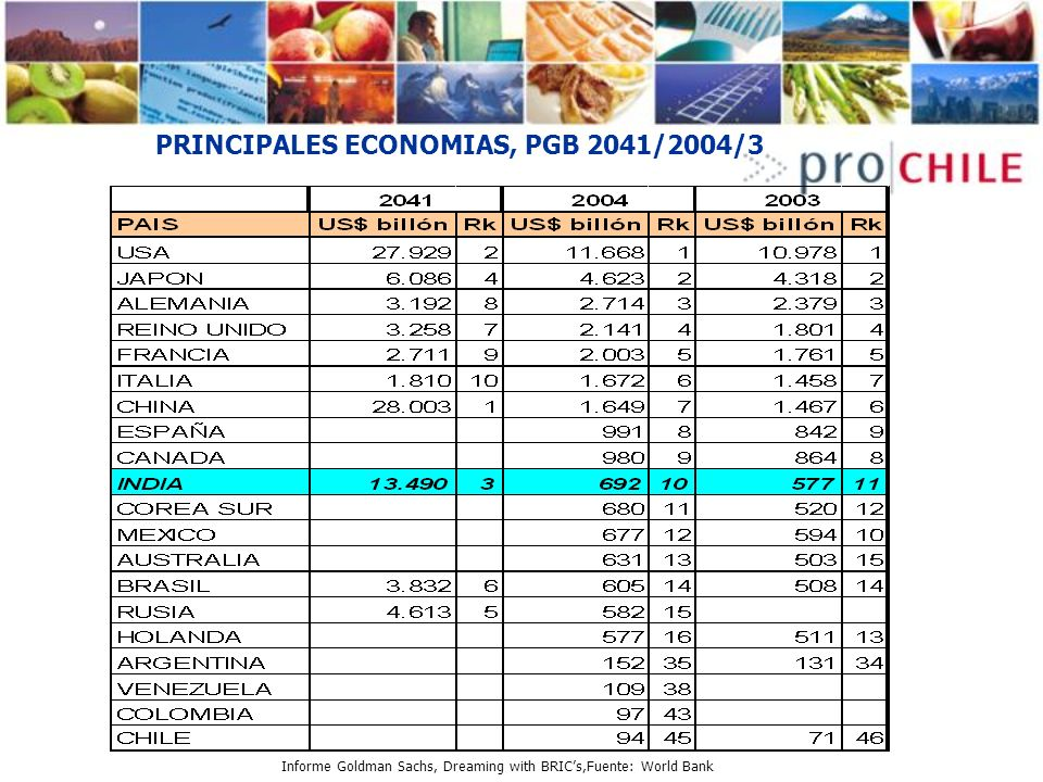 PRINCIPALES ECONOMIAS, PGB 2041/2004/3 Informe Goldman Sachs, Dreaming with BRICs,Fuente: World Bank